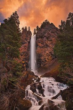 Treasure Falls, San Juan Mountains, southwest Colorado on way. To pagosa Beautiful Waterfalls, Beautiful Landscapes, Oh The Places You'll Go, Places To Visit, San Juan Mountains, Colorado Mountains, Rocky Mountains, Photo Voyage, All Nature