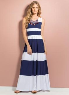 Vestido Longo Listrado (Azul e Branco)