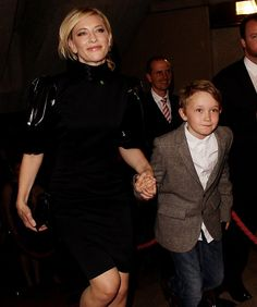 It's Cate Blanchett! -- Eight-year-old-Roman, middle son of Cate Blanchett and Andrew Upton, attends an award show at the Sydney Opera House with mom. His big brother is Dashiell, and little bro is Ignatius.
