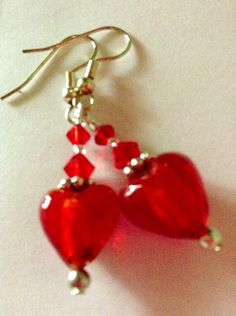 Crystal Red Heart Earrings on Etsy, $16.00