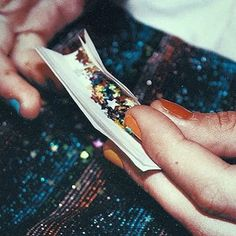 """""""Sonic, that's glitter."""" """"Leave me alone, mom let me have some fun."""" I watch her roll her blunt filled with weed but mostly glitter."""