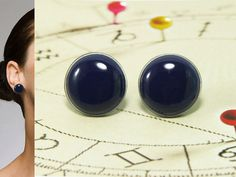 Navy Blue Stud Earrings 20 mm  Navy Blue Bright Resin by biesge, $14.90