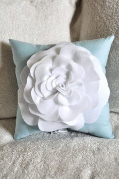 Blue Decorative Pillow Aqua Pillow with White Rose by bedbuggs, $33.00