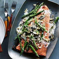 Grilled King Salmon with Asparagus, Morels, and Leeks (can use coconut milk for dairy-free option)