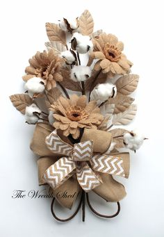 Daisy Cotton Boll Bouquet 2nd Anniversary Bouquet by TheWreathShed