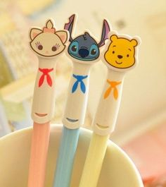 3pcs Disney Collectible Ballpoint Pens Erasers Cute Kawaii Marie Stitch Pooh eBay