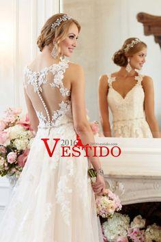 2016 vestidos de novia Una línea de correas espaguetis con cuentas la cintura de tul con apliques
