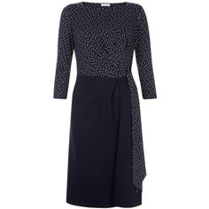 Hobbs Tanya Dress, Navy/Multi (7.630 RUB) ❤ liked on Polyvore featuring dresses, navy dresses, maxi dress, 3/4 sleeve maxi dress, midi dress and three quarter sleeve dress