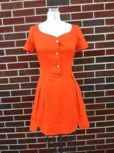 60's Orange Mini Dress Size 7