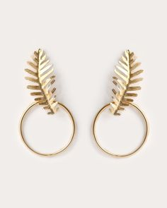 Palm Leaf Earrings/ gold
