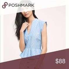 """•Anthropologie•Clipdot Light Blu Top• Material is Cotton chambray. The length of the shirt is 20"""" the arm opening is 10"""". This top is sheer, in the last image it shows my hand underneath. Anthropologie Tops"""