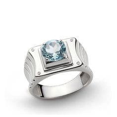 925K Sterling Silver Men's Ring with 2.40ct Topaz and 0.02ct DIAMONDS 69627 #eJOYA #Rolling