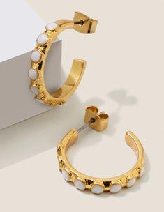 Enamel Hoop Earrings - Gold Metallic/Ivory