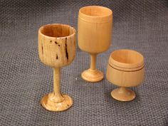 Miniature Goblets in Maple, Pine, and Buckeye