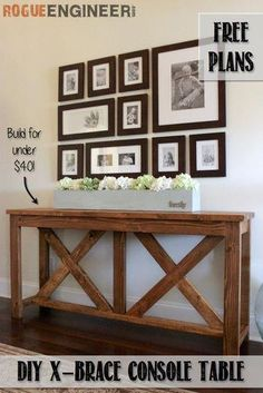 32 DIY TV and Media Consoles For Entertainment in Style <br> For creative home decor ideas be sure to make a DIY media console table or cabinet for TV & stereo. Diy Furniture Table, Diy Furniture Plans Wood Projects, Diy Table, Furniture Ideas, Rustic Furniture, Furniture Stores, Furniture Buyers, Diy Projects, Outdoor Furniture