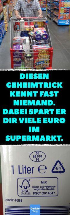 Diesen Geheimtrick kennt fast niemand. Dabei spart er dir viele Euro im Supermarkt. So bekommt man in jedem Supermarkt Markenware zum ganz kleinen Preis. #Supermarkt #Markenprodukt #No-Name-Marke #Sparen #günstig #einkaufen