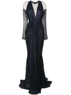 Talbot Runhof long sleeved draped gown