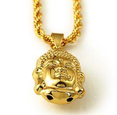 2016 New China Style 18K Gold Plated Buddha Pendant Necklace Punk Rock Classic Jewelry