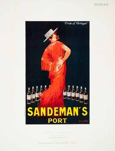 1924 Lithograph Ad Sandeman's Port Portugal Dress Vercasson Jean d'Ylen Artist #vintage #alcohols #sandemans Vintage Advertising Posters, Vintage Advertisements, Vintage Posters, Port Wine, Art Deco Posters, Fashion Magazines, I Wallpaper, Happy Hour, Beverage