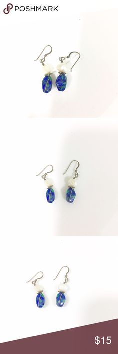 Gorgeous Blue and Green Stone Dangle Earrings Dangle earrings with a blue and green stone, and a white stone on top Jewelry Earrings
