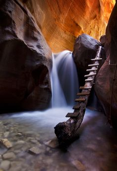 Waterfall in Kanarra Creek Canyon just outside Zion National Park