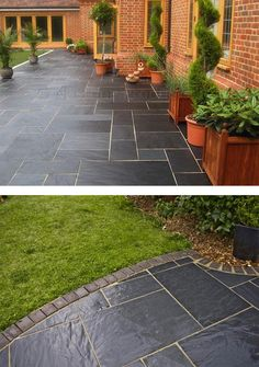 Patio Slabs for Style and Beauty of Your Garden Nustone Black Slate Paving Slabs - Garden Patio Slabs - Natural Garden Paving, Garden Stones, Garden Slabs, Backyard Patio, Backyard Landscaping, Landscaping Ideas, Ceramica Exterior, Slate Paving, Concrete Pavers
