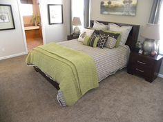 The large master bedroom will definitely handle my king-size bed and has a king-sized walk-in closet and master bath area to go with it. Palm Harbor Homes, Master Bedroom, Master Bath, Modular Homes, Walk In Closet, King Size, Bathrooms, Handle, House