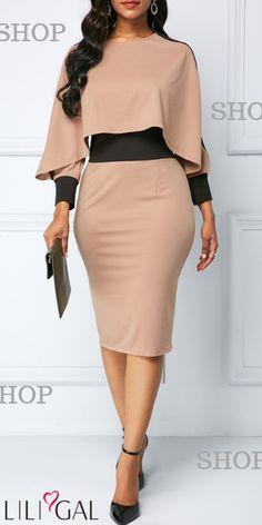 Back Slit Long Sleeve Sheath Dress Elegant Dresses Classy, Classy Wear, Classy Dress, Casual Dresses, Church Dresses For Women, Dresses For Work, Dresses With Sleeves, African Fashion Dresses, Fashion Outfits
