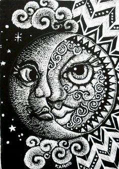 Sun And Moon ACEO Scratchboard By MandarinMoon Via Flickr Were Doing Art