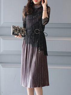 283f521c0a9 Buy Elegant Dress For Women at JustFashionNow. Online Shopping  JustFashionNow Multicolor Women Elegant Dress Crew Neck Going out Dress  Sleeve Elegant ...