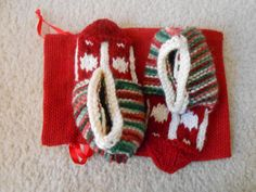 Knitted slippers for the whole family by LavenderLassies on Etsy