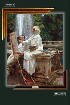 Canvas framed print, The Fountain, Villa Torlonia, Frascati, Italy_John Singer Sargent, giclee canvas, gold framed, nameplate