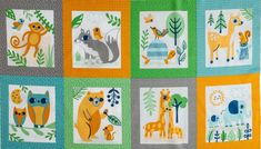 Coton Quilt Fabric Panel Z Is For Zoo Sweet Bright Gold Gray Animal Pals - AUNTIE CHRIS QUILT FABRIC. COM