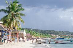 Long sweeping caribbean beach of West Bay, Roatan, Honduras