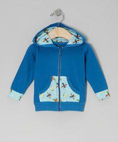 Blue Airplane Organic Zip-Up Hoodie - Infant