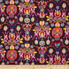 Alexander Henry Folklorico Calaveras Del Mar Eggplant from @fabricdotcom Designed by De Leon Design Group for Alexander Henry, this cotton print fabric is perfect for quilting, apparel and home decor accents. Colors include orange, yellow, white, red, blue and shades of purple, green and pink.