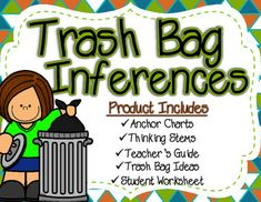 """Teach students about inferences using this engaging activity! Teachers bring in a bag of """"garbage"""" from a mystery new neighbor. As a group, sort through each item and have students connect trash evidence and their schema about the item to form an inference about the new neighbor.This product includes: -Anchor Charts (Text Evidence, Schema, and Inference)-Thinking Stem Charts (Text Evidence, Schema, and Inference)-Teacher's Guide (Scenario and Materials)-3 Pages of Trash Bag Ideas-Student…"""