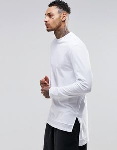 ASOS Super Longline Long Sleeve T-Shirt With Knitted Hem Panel