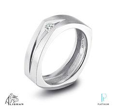 Alishan platinum men's wedding band featuring a round diamond.