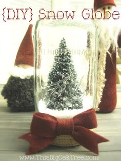 DIY snow globe ... love the burlap and bow and how to make foam snow!