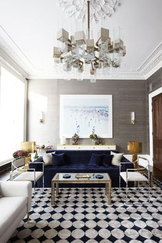 An elegant living space with a grand chandelier