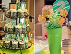 green st Patrick's Day second birthday party with Starbucks theme cupcakes with starbucks wrappers and decorations