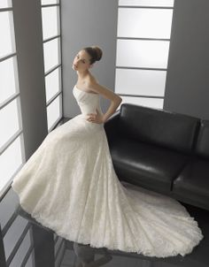 Chic strapless princess A-line chapel train bridal gowns