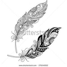 Peerless Decorative Feather Vector, Patterned design, Tattoo id: 156283949 >>>