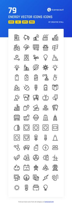 Energy Vector Icons  Icon Pack - 79 Line Icons