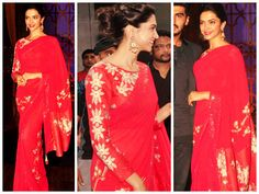 Deepika Padukone in Red Saree!! looking Sexy in this #Saree.