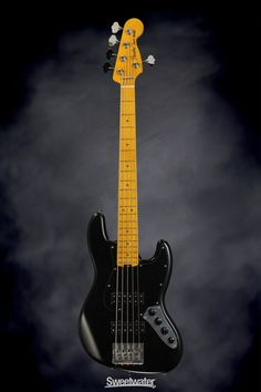 Fender Modern Player Jazz Bass V - Satin Black | Sweetwater.com. 5-string Electric Bass with Alder Body, Maple Neck and Fingerboard, Two Humbucking Pickups, and Rotary Pickup Switching - Satin Black