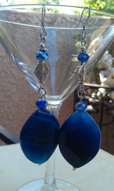 Blue Sapphire beaded earrings by LilaRoseJewelry on Etsy, $26.00 #Jewelry #Womensfashion #Accessories #earrings #Beaded #Style