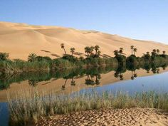 Ubari Lakes are part of Erg Awbari Oasis in the Sahara. Located near Fezzan and 30kms north of Germa in Libya  Umm Al-Maa, means Mother of Water