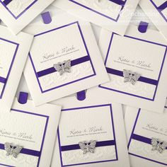 Purple and Ivory Butterfly Invitations with Lace